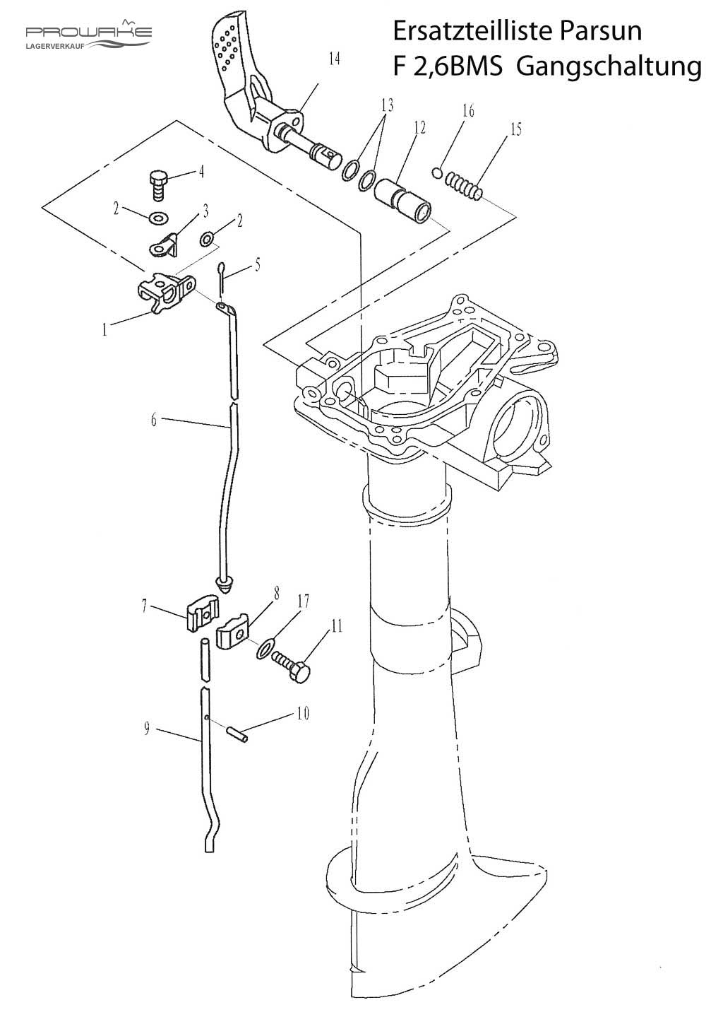 F2,6-Gangschaltung Ersatzteil Explosions-Zeichnung