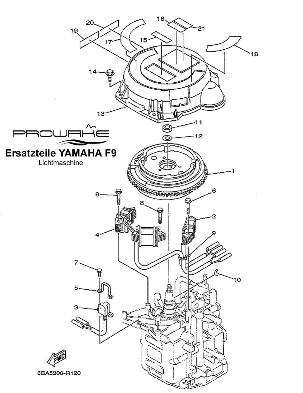yamaha f9 9 au enborder lichtmaschine ersatzteil. Black Bedroom Furniture Sets. Home Design Ideas