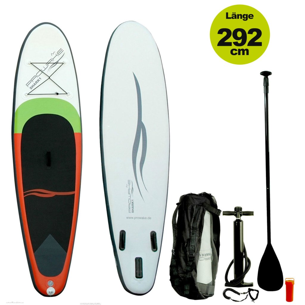 "SUP  (inflatable iSUP) PROWAKE Shark1: Stand Up Paddle Board 292 cm / 9'7""  - Hochdruck Drop-Stitch Verbundboden (Versand kostenfrei)*"