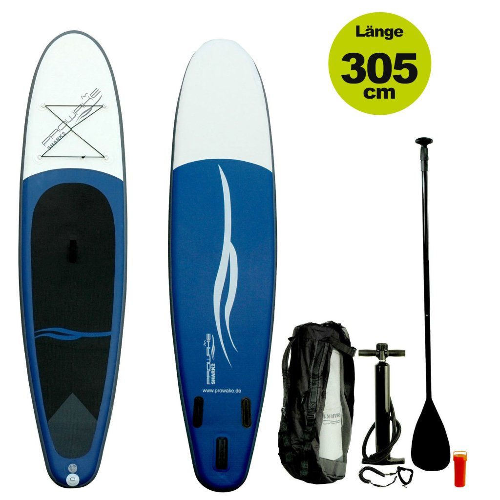 "SUP  (inflatable iSUP) PROWAKE Shark2:  Stand Up Paddle Board 305 cm / 9'12"" - Hochdruck Drop-Stitch Verbundboden (Versand kostenfrei)*"