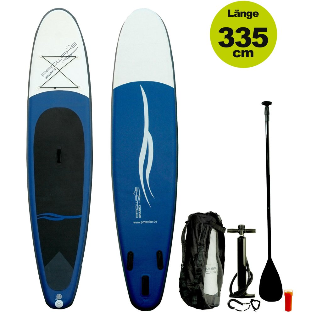 "SUP (inflatable iSUP) PROWAKE Shark3:  Stand Up Paddle Board 335 cm / 11'0""  - Hochdruck Drop-Stitch Verbundboden (Versand kostenfrei)*"